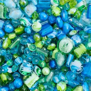 Large Mixed Glass Bead Packs 150g - Turquoise and Green Mix Pack