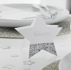 Silver Glitter Star Christmas Place Cards Xmas Party Dinner Table Decor Name Set