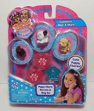 Puppy In My Pocket 3 Charms Puppies & Puppy Charm Barrettes / Ring Set B