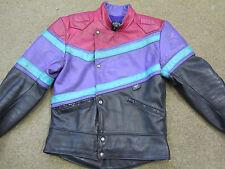 SCOTT MENS VINTAGE LEATHER MOTORCYCLE BLACK/MULTI JACKET FULLY LINED SIZE UK 38