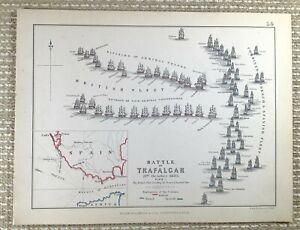 1855 Antique Military Map of The Battle of Trafalgar 1805 Spanish French Navy