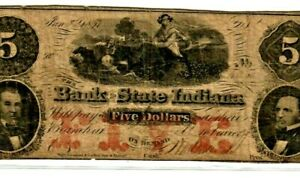 """$5 """"STATE OF INDIANA"""" 1800'S $5 (REDBACK) """"STATE OF INDIANA"""" (REDBACK) RARE!!!!!"""