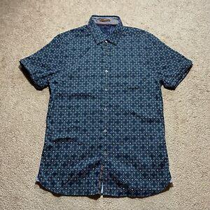 Ted Baker London Blue Button Down Dress Short Sleeve Shirt Men's Size 3