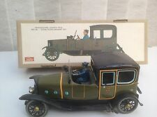 Vintage Tin Clockwork Wind-up Green Limousine with Chauffeur