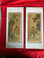 2 HANDPAINTED  ASIAN FINE ART CHINESE WATERCOLOR PAINTINGS ON SILK