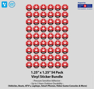 "1.25"" x 1.25"" Warning THC Contour Cut 54 Vinyl Sticker Pack"