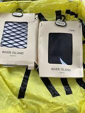 2 x RIVER ISLAND BLACK FISHNET TIGHTS 1 Pair -LARGE HOLES 1 Pair - SMALL HOLES