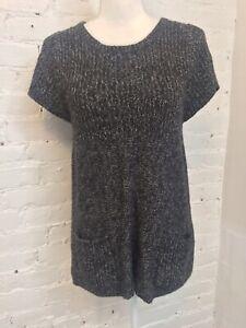 Iro Tunic Trapeze Sweater Short Sleeve Scoop Neck Marled Black White 3