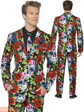 Mens Day Of The Dead Skull Stand Out Suit Adult Halloween Fancy Dress Costume