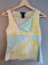 CUSTO BARCELONA Summer Funky Top Pattern Yellow and Blue Size One 100% Cotton
