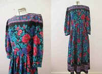 Vintage 80s Floral Boho Rayon Dress Small Medium FREE POSTAGE for 3+ items