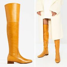 ZARA Yellow/Mustard Over the Knee Flat Leather Boots size 37/UK 4 Ref 6012/101