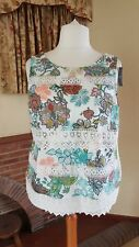 LADIES CREAM FLORAL LACE DETAIL SLEEVELESS TOP FROM NEXT 20  -HOLIDAY