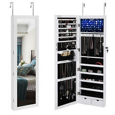 SONGMICS Wall/Door-Mount Mirrored Jewellery Cabinet with LED Light White JBC93W