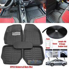 Car Floor Mats Front & Rear Carpet Universal Auto Mat Weatherproof + Rubber Seal