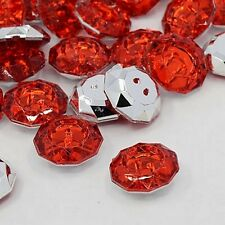 LOT 10 BOUTONS FANTAISIES STRASS ROUGE 18 mm - 2 TROUS COUTURE SCRAPBOOKING