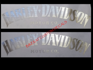 2 x200mm ** BRUSHED CHROME ** SILVER HARLEY DAVIDSON style Tank decal sticker