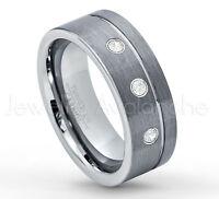 Brushed Black IP Stepped Edge Tungsten Carbide Ring TS0852 Ladies November Birthstone Ring Citrine /& Diamond Wedding Band