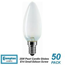 50 x 25W Pearl E14 Candle Shaped Light Globes / Bulbs / Lamps Small Edison Screw