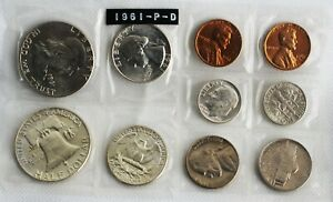 1961 P & D Coin Set 3rd Party Put Together 1c-50c Coins 6 Silver Uncirculated