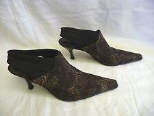 DONALD J PLINER Womens Mules Slingback Heels Sz 9M Black Lace Beige Spain Lillis