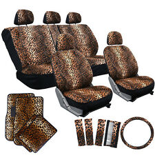 21pc Seat Cover Leopard Cheetah Print Car Floor Mat Belt Pads Steering Wheel
