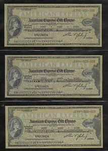 United States American Express Travelers Cheque 25 50 100 dollars value SPECIMEN