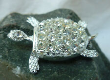 Vintage Turtle Pin Clear Rhinestones Shell Textured Silver Tone Brooch