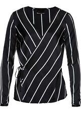 Wickelbluse Gr. 50 Schwarz Weiß Gestreift Damen-Bluse Shirt Tunika Oberteil Neu