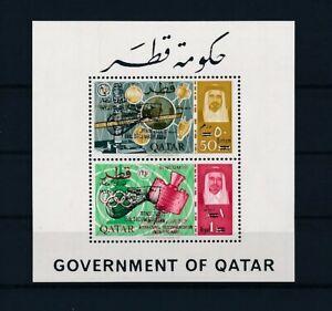 D110273 Qatar S/S MNH Space - ITU Centenary New value - Black overprint