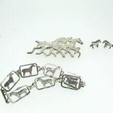 Sterling Silver Horse Pin Earrings Bracelet Set
