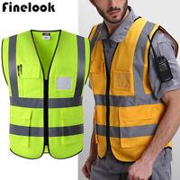US Hi-Vis Visibility Safety Work Bomber Reflective Vest Two Tone Reflective Top