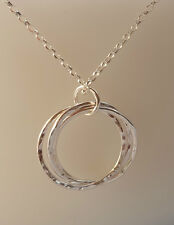 Handmade sterling silver interlocking three rings necklace