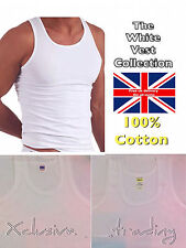mens vests white mesh ribbed plain summer winter vest thermal heavier thick thin