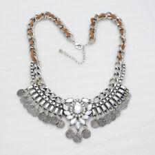 NEW infeein jewelry unique silver tone cluster statement bib rhinestone necklace