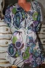 (S14) DEBENHAMS semi sheer floral sequined loose fit blouse top size 12