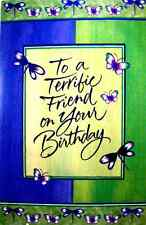 Birthday Braille Added Greeting Card --To A Terrific Friend Butterflies  BD103