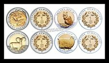 TURKEY 2015 UNC 4 PCS SET 1 LIRA DESERT VARAN -WILD SHEEP - GOAT- CAT - BIMETAL