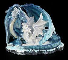 Drachen Figur - Mutter mit Jungem weiß-blau - Fantasy Figur Deko