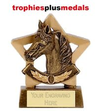 HORSE EQUESTRIAN SHOW JUMPING PONY MINI STAR TROPHY 8cm FREE ENGRAVING