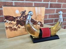 Vintage Avon Western Choice After Shave Decanter Longhorn Cattle Horn Full w/box