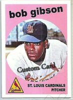 BOB GIBSON ST. LOUIS CARDINALS 1959 STYLE CUSTOM MADE BASEBALL CARD BLANK BACK