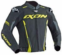 Ixon Vortex Black / Grey / Yellow Leather Motorcycle Jacket #100201034-1086