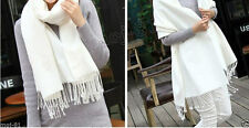 100% Cashmere White..Fringed Soft..Light, Warm..Wrap..Shawl. Scarf. Stole
