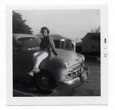 PHOTO ANCIENNE Voiture Auto Automobile Américaine USA Portrait Vers 1957 Femme
