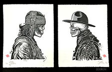 Zoltron Letterpress Cowboy and Gypsy 2 art prints posters Skeleton x/100 Gyspy