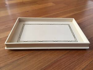 """VINTAGE CELLULOID VANITY TRAY -BALL FEET -GOLD PAINTED -9 1/2 X 6 1/4"""""""