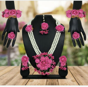 Artificial Flower Jewelry Indian Bridal Wedding Style Haldi Floral Set 9 Pcs