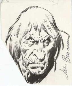 BARBARIAN/PIRATE/WARRIOR 3.5x4 Character Sketch Original Art JOHN BUSCEMA 1980s