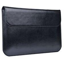 Black 7' Genuine Leather Protective Folio Sleeve w/Kickstand & Magnetic Closure
